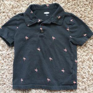 3t boys gray flamingo polo shirt.